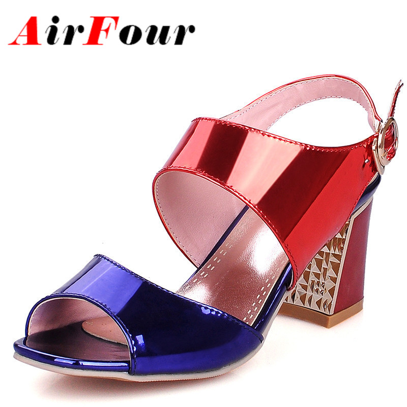 AirFour New Design Summer Women Sandals Size 34-39 Blue Pink Silver Shoes Peep Toe High Heels Sandals Women Party Wedding Shoes от Aliexpress INT