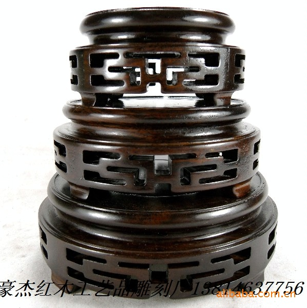 African Ebony Sets Of Three Circular Base Base Stone Jade Teapot Base Black Branch Wood Base
