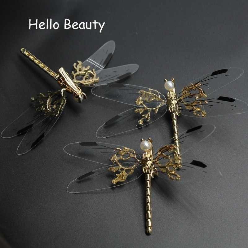 3 PCS Novel Fancy Metal Wedding Hair Clip Bridal Pearl Hair Barrette Animal Dragonfly Hairpin For Women Bride Head Accessories
