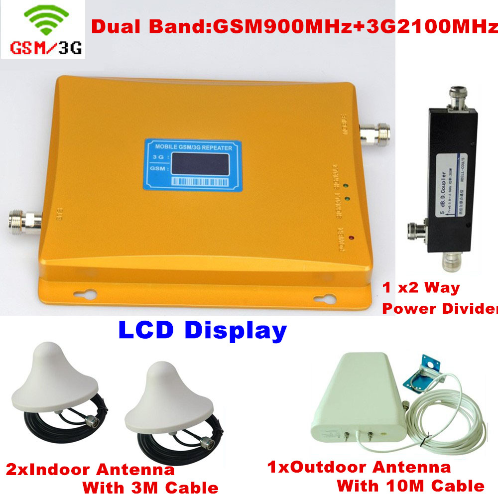Log Periodic Antenna With Celling Antenna Cover 2 ROOM GSM 900 WCDMA 3G 2100 Signal Repeater Cell Phone Signal Booster