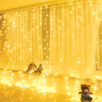 Battery operated 3mx3m 300leds Christmas LED light party garden house wedding decoration LED curtain light 8 modes with remote