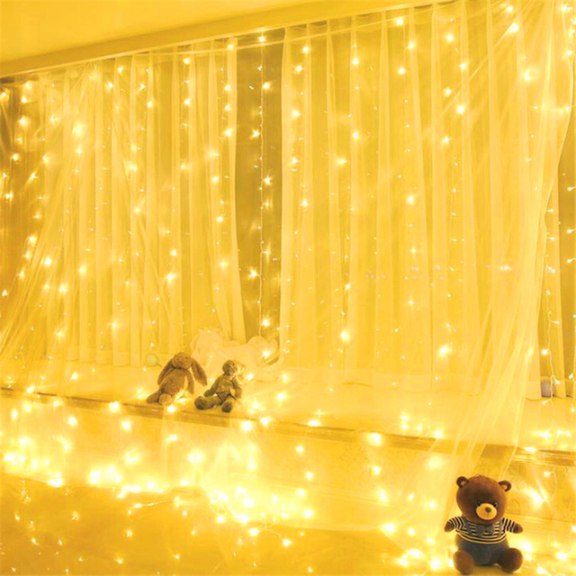 Battery Operated 3mx3m 300leds Christmas Led Light Party Garden House Wedding Decoration Curtain 8 Modes With Remote
