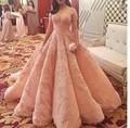 2016 nova na moda Big Ball vestido de Organza com Tulle Prom Dress estilo especial Lace Applique longa noite vestidos Custom Made