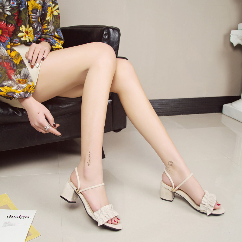 Open toe Suede Square Off White heel High heels sandals women 2019 Summer shoes woman Fashion wild Riband Slip On female shoes in High Heels from Shoes