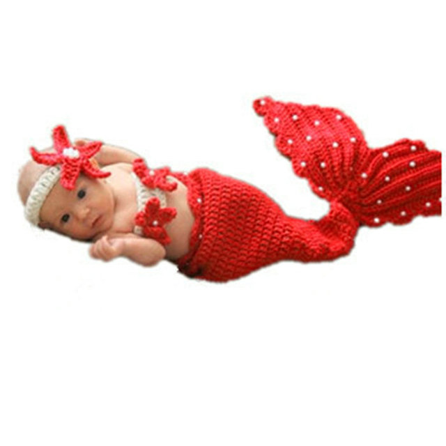 Infant Baby Girls Boy Newborn Knit Crochet Mermaid Bead Mini Clothes Photo Prop Costumes for Newborn Baby Headband Photography