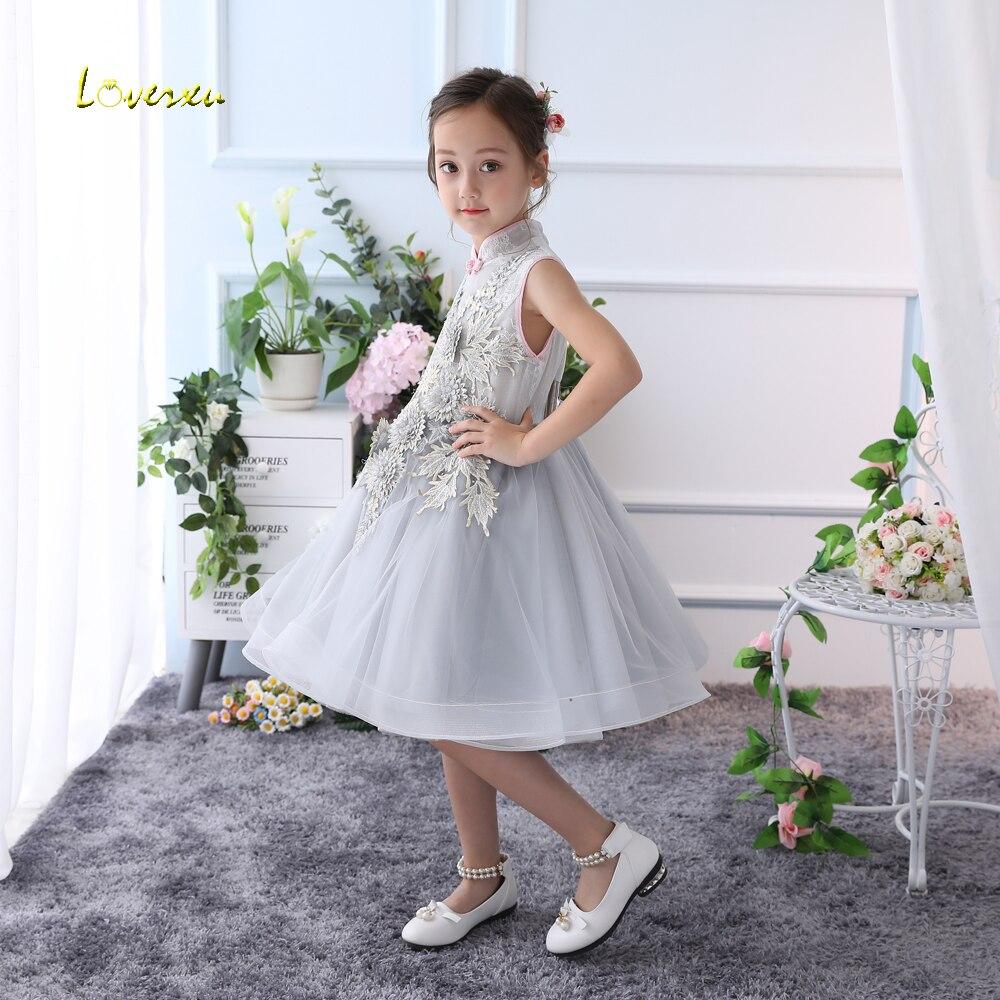 a1298ad52666 Loverxu High Neck Tea Length Ball Gown Flower Girl Dresses 2018 ...