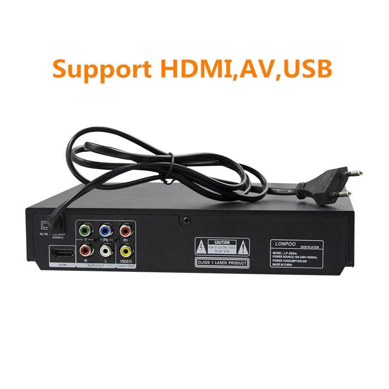Lecteur DVD HDMI Mini USB LONPOO région gratuite plusieurs langues OSD lecteur CD RW DVD DIVX lecteur LED lecteur DVD MP3 - 6