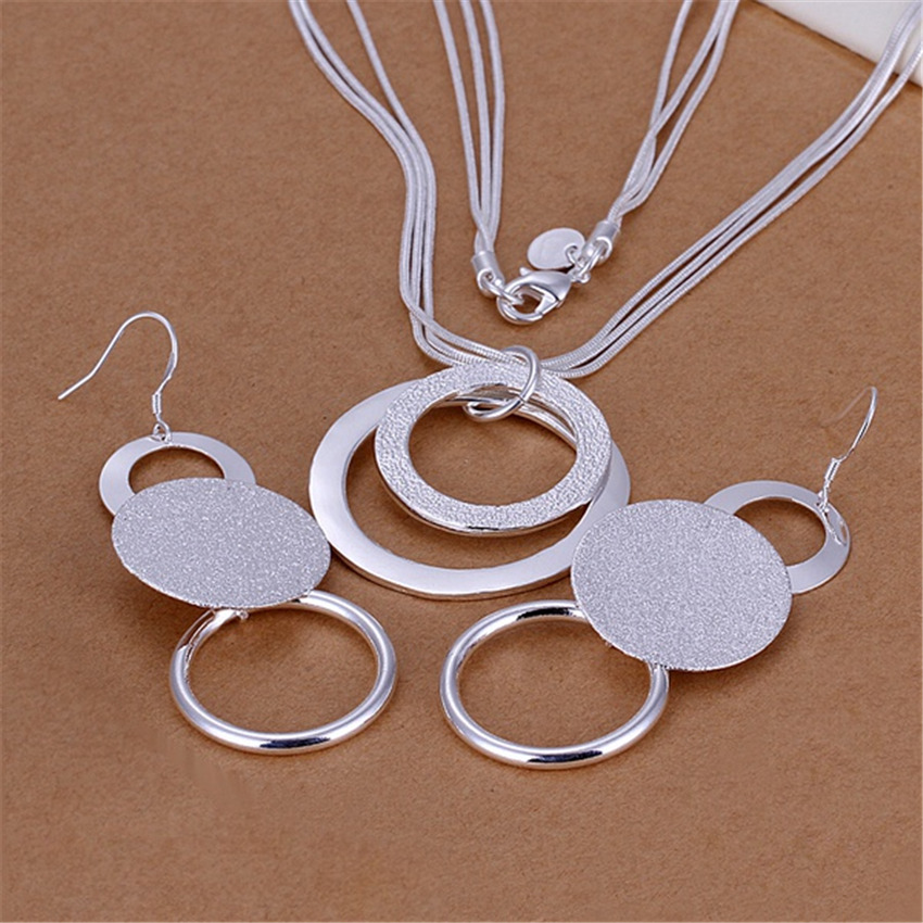 charms wedding color silver jewelry fashion Pretty pendant Necklace Earring women party set TOP quality stamped , p218