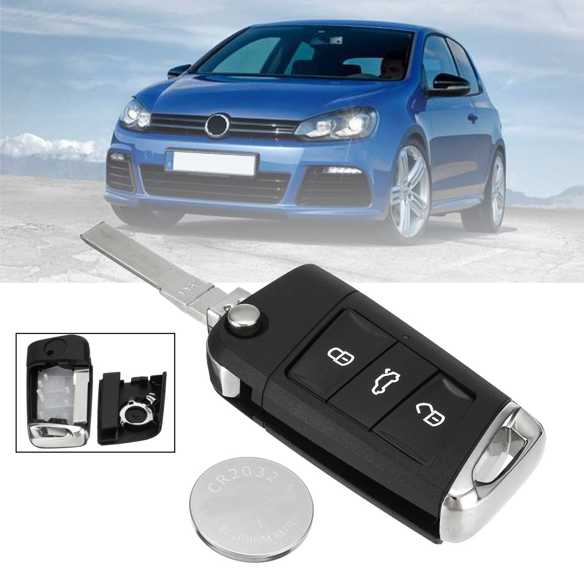 3 Buttons CR2032 HAA Blade <font><b>Remote</b></font> Flip <font><b>Key</b></font> Fob Case Shell Cover W/ Battery for VW Volkswagen <font><b>Golf</b></font> <font><b>7</b></font> MK7 2002 2003 2004 2005 2006 image