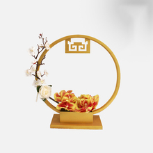 Creative Chinese metal flower stand decoration home office hotel wrought iron decorative bonsai hydroponic container