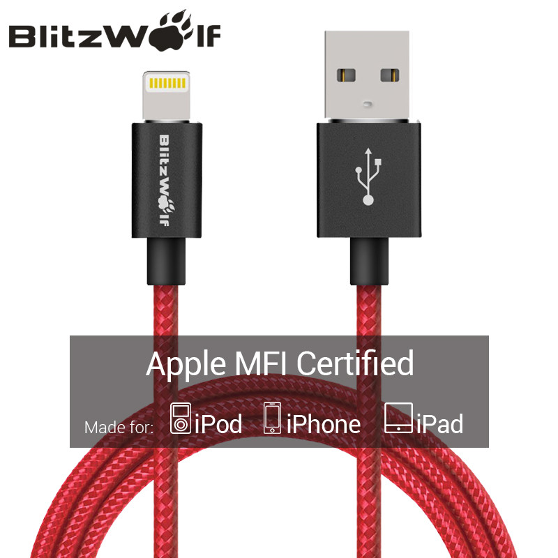 BlitzWolf MFI For iPhone USB Cable 1m 1.8m Mobile Phone Charger Charging Data Cable For iPhone 6 7 Plus For Ipad Lightning Cable