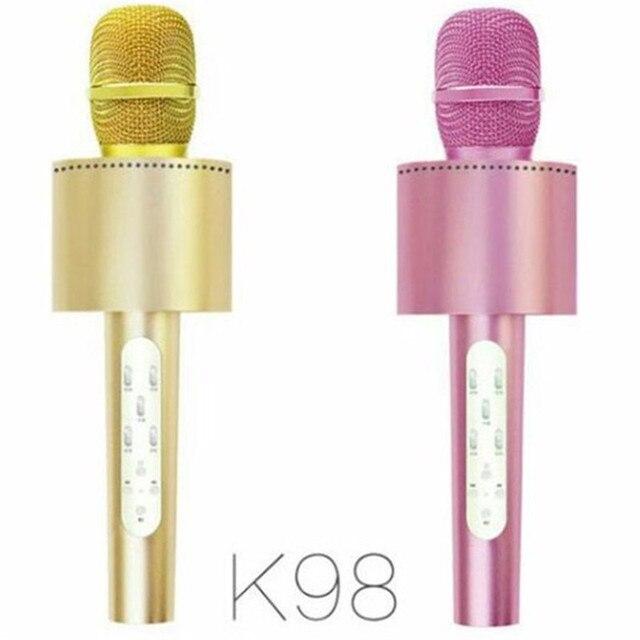 Бренд K98 Металл Bluetooth для Беспроводной Караоке Микрофон 2IN1 MIC Динамик Телефона КТВ-Плеер Запись Музыки На Открытом Воздухе Для Iphone Android