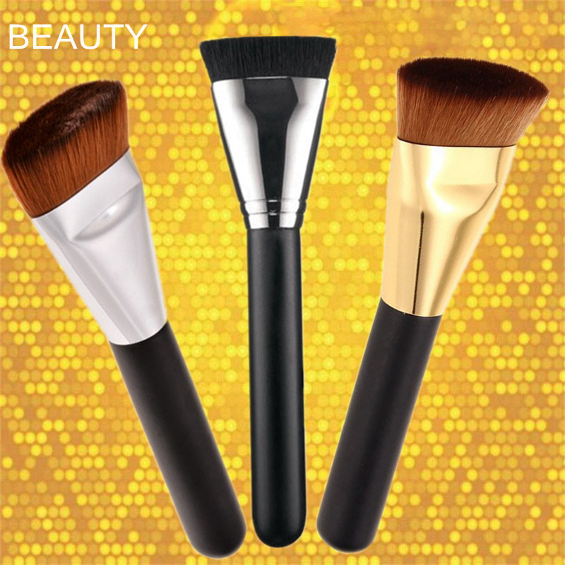 NEW Professional Pro 163 Cosmetic Flat Contour Brush Foundation Blend Makeup Brush finding color professional wooden cosmetic makeup bevel foundation brush brown