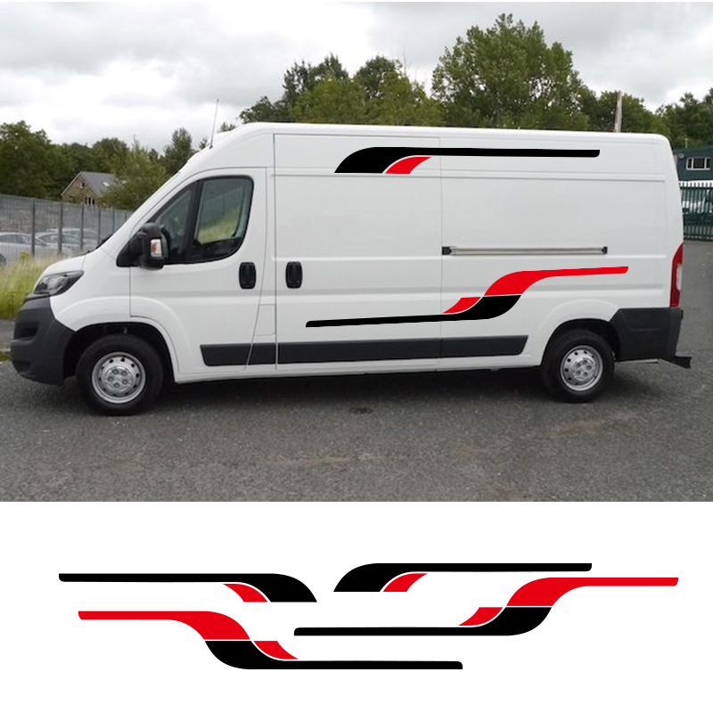 2 Sides Motorhome Vinyl Graphics Stickers Decals Stripes Camper Van For Peugeot BOXER Set