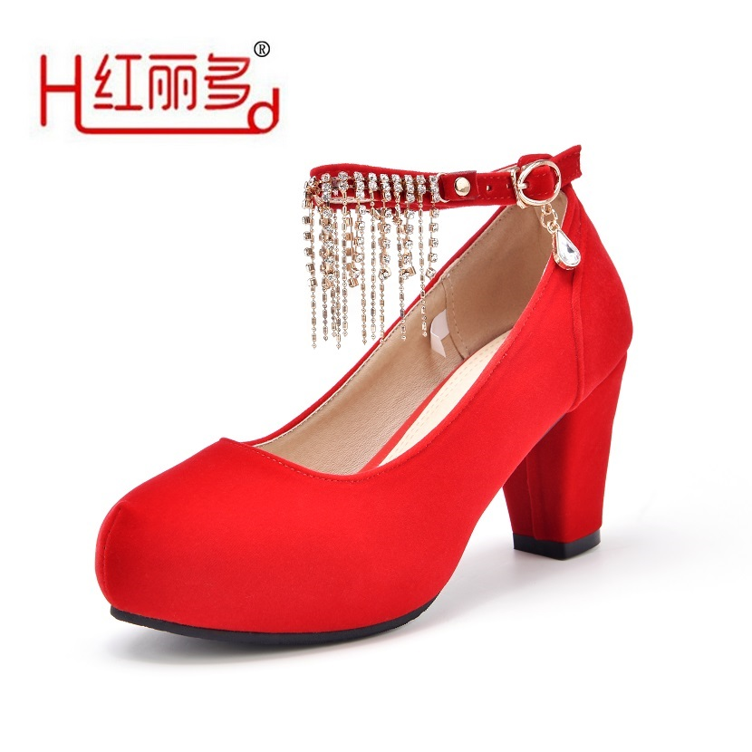 Red Women Small Big Size Wedding Shoes High Heeled Ladies