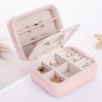 LELADY Small Jewelry Box Zipper Leather Jewelry Storage Organizer Box Portable Travel Jewelry Case With Mirror
