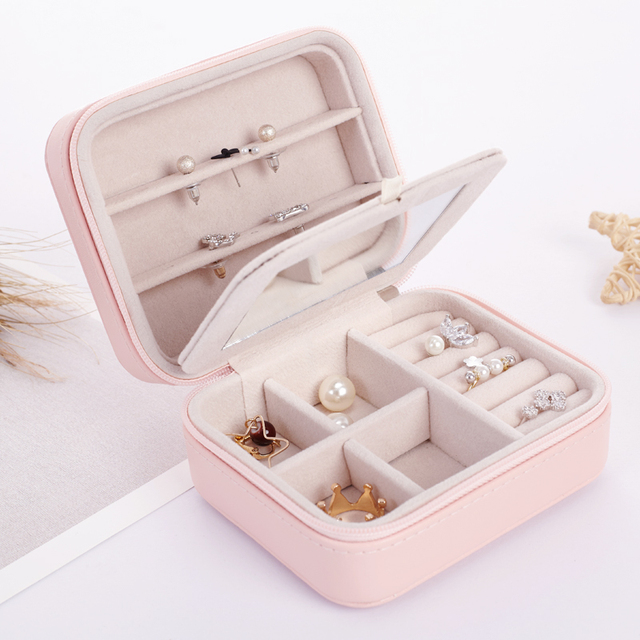 LELADY Small Jewelry Box Zipper Leather Jewelry Storage Organizer