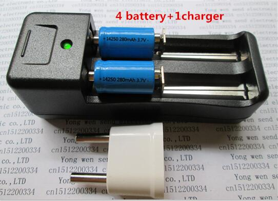 NEW ER14250 battery LS14250 ER14250H 1/2-R6 1/2 AA 3.6V/3.7V 280mah <font><b>14250</b></font> <font><b>Rechargeable</b></font> lithium batteries(4 battery + 1 charger) image