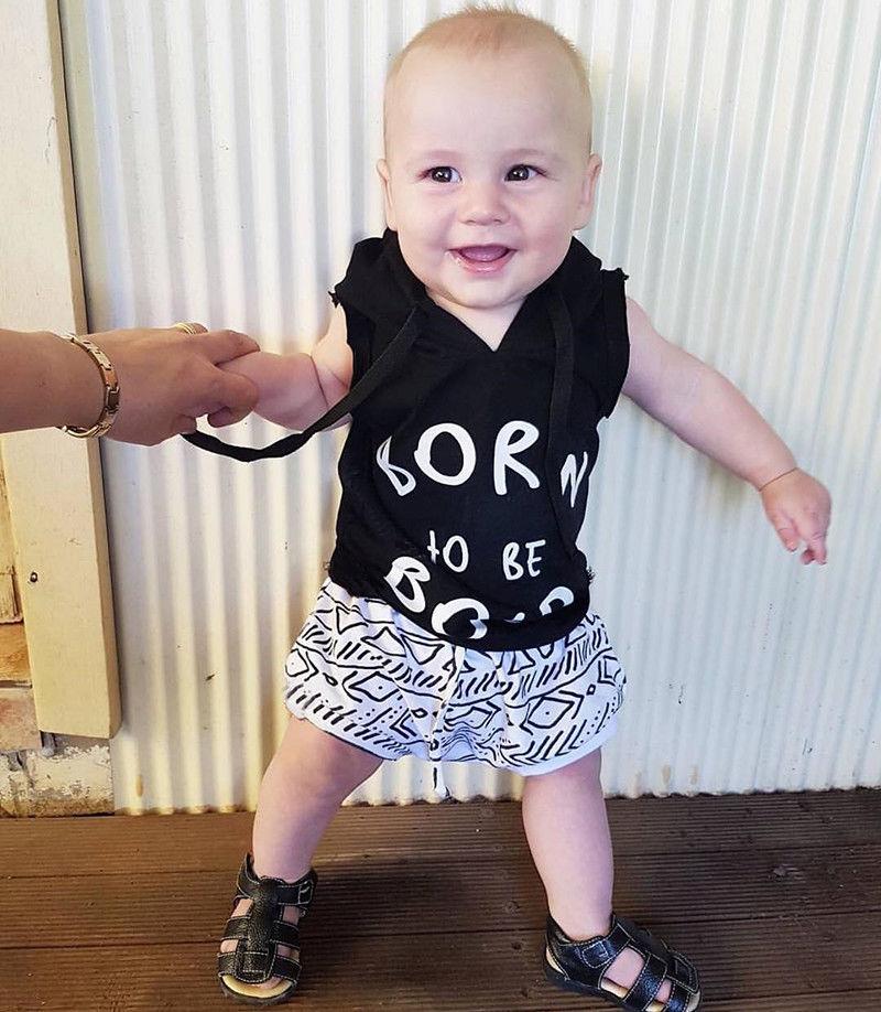 2Pcs Infant Kids Baby Boys Clothes set Hooded T-shirt Tops Short Pant Casual Newborn boys Outfit Set