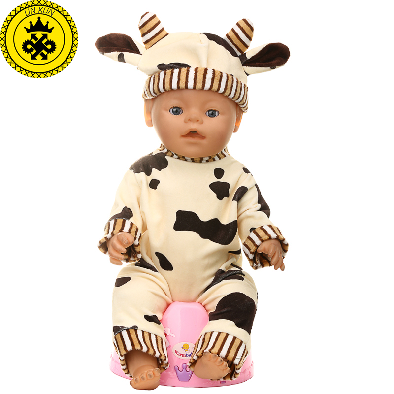 Baby Born Doll Accessories Cattle Corner Ear Hat+ Jumpsuits Suit Clothes fit 43cm Baby Born Zapf Doll Clothes 4 Colors T5