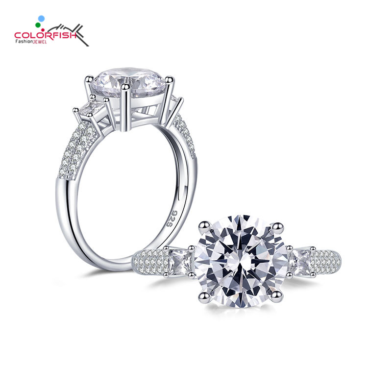 Colorfish 3ct Three Stone Engagement Ring Real 925 Sterling Silver Round Cut Sona Synthetic Jewelry Women's Love Promise Riings Complete Range Of Articles