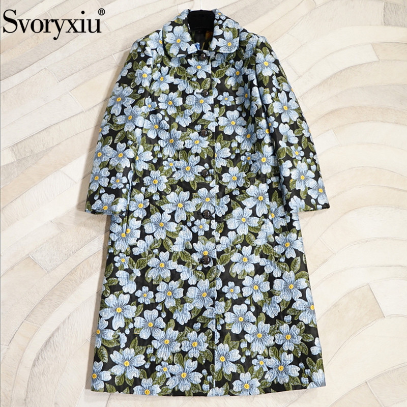 Svoryxiu Winter Runway Jacquard Long Overcoat Outwear Women's Chic Tulip Printed Lining High End Custom Slim Coat   Trench