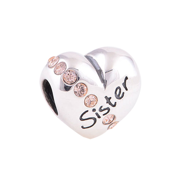 Fits Pandora Charms Bracelet 925 Sterling Silver Heart Beads Letter Sister Charm With Cz Stone Diy