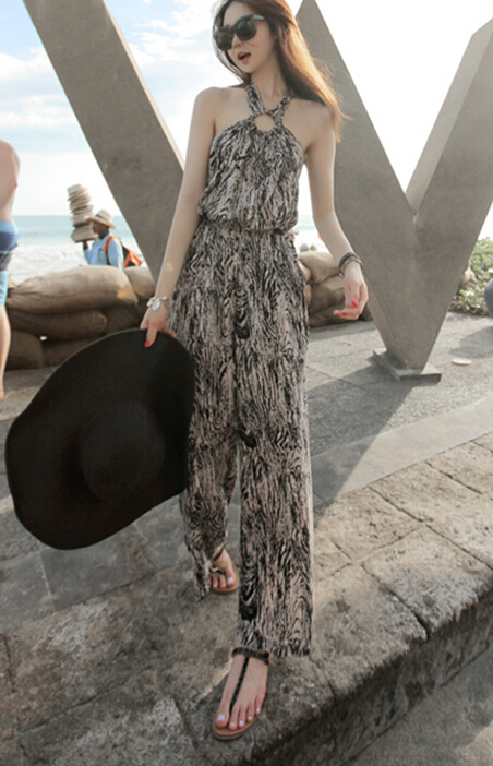 Free Shipping High Quality Hot Sale Korean Leisure Leopard Halter Neck Woman Chiffon Jumpsuit 8