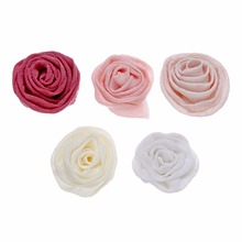 10pcs/lot 1.78 5Colors Faltback Cotton Slub Rosettes Flowers Girls Hairband Accessories Handmade Ornament For Headband