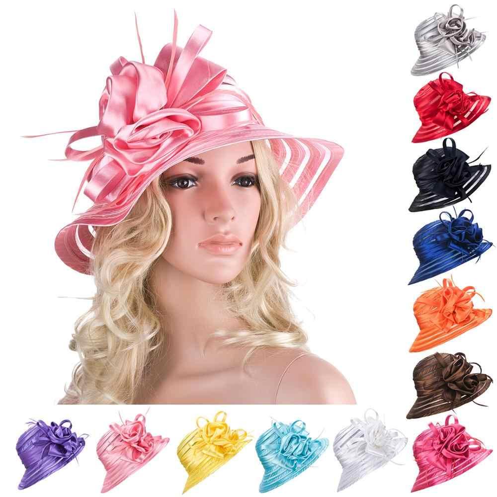 Eleganckie kapelusze letnie dla kobiet szeroki czapka z rondem panie plaża dyskietek kapelusze damskie kościół kapelusze ślub kościelny satynowa wstążka czapki A214