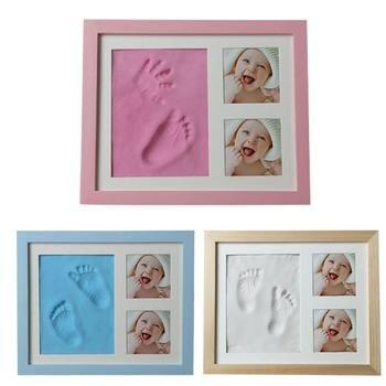 Mão do bebê & Foot Print Mãos Pés Mold Criador Bebe Quadro Da Foto Do Bebê Com Tampa de Impressão Digital Conjunto Lama de Crescimento Do Bebê memorial Presente