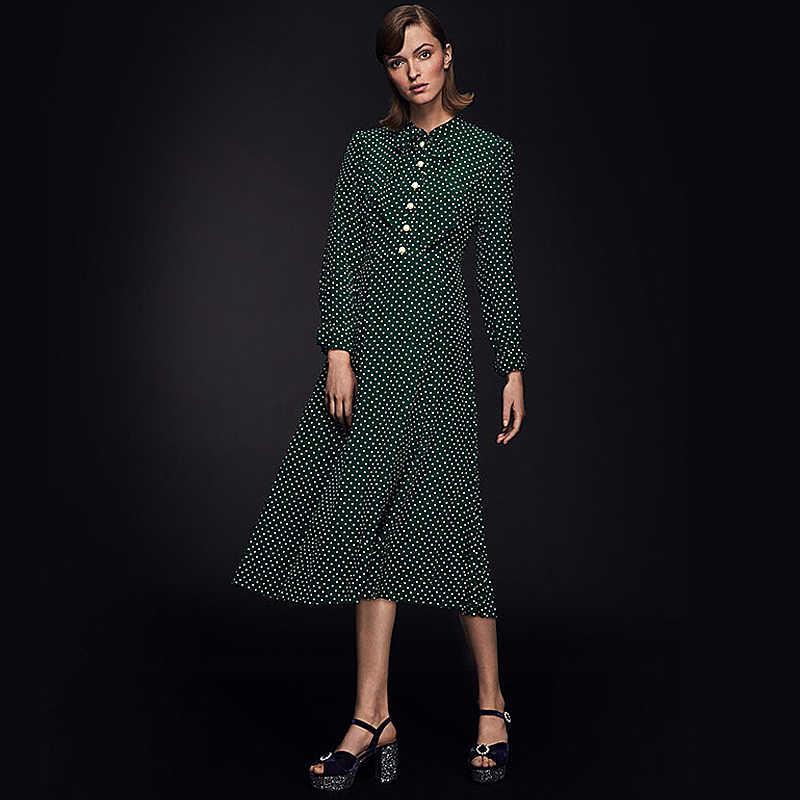 Prinses Kate Middleton Lente Nieuwe Hoge Kwaliteit Vintage Dames Groen Polka Dot Print Casual Sjaal Kraag Slanke Party Midi Dress