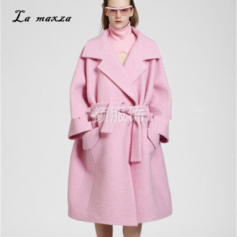 Mujeres Elegante La Ropa Lana De Rosa Outwear Las Largo Moda Vendimia Suelta  Abrigo 2018 p0dqBSX 2ecc2b3f11d3