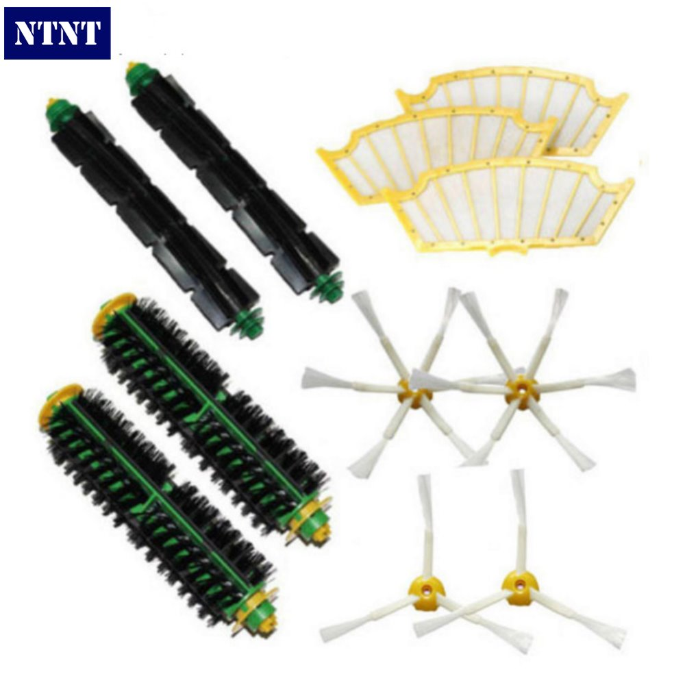 NTNT Bristle & Flexible Beater Brush Armed Filter kit For iRobot Roomba 500 Series Vacuum Cleaner 520 530 540 550 560 3 armed side brush flexible beater brush bristle brush filter for irobot roomba 500 series vacuum cleaner accessory kit
