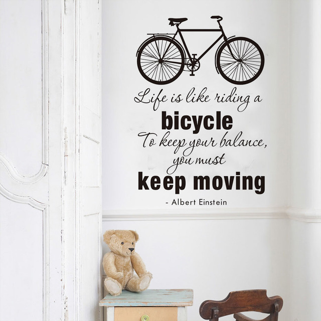 Life Is Like Riding A Bicycle Quote Wall Sticker Motivational motto ...