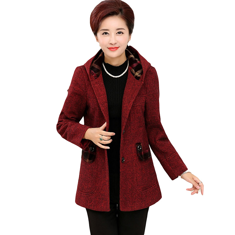 2017 Winter Jacket Women Thicken Warm Wool Coat Cotton-padded Slim Plus Size Coat Parka Middle-aged Jacket For Mother YP0640 xl 5xl winter coat women plus size middle aged mother cotton padded clothes casual hooded solid long sleeve parka thick a4263