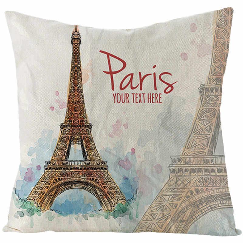 Fuwatacchi 有名なパリの風景アーキテクチャクッションカバー古城スロー枕カバー油絵風景枕