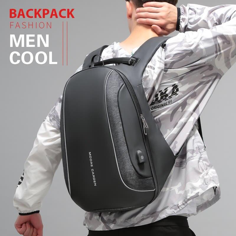 PISU New Backpack Men s Black Fashion Backpack USB Charged Waterproof Backpack Headset for 15 6