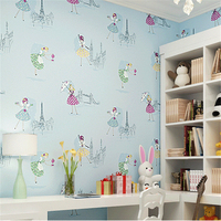 Cartoon Ballet Dancing Girl Princess Room Wallpaper Warm Bedroom Pink Non Woven Children S Room Wallpaper