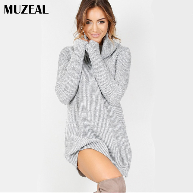 8ccd8940c6c8c MUZEAL Autumn Winter Woman Sweater Dress Long Sleeve Turtle Neck Lady  Knitted Short Dress Party Club Woman Sexy Mini Dress 22
