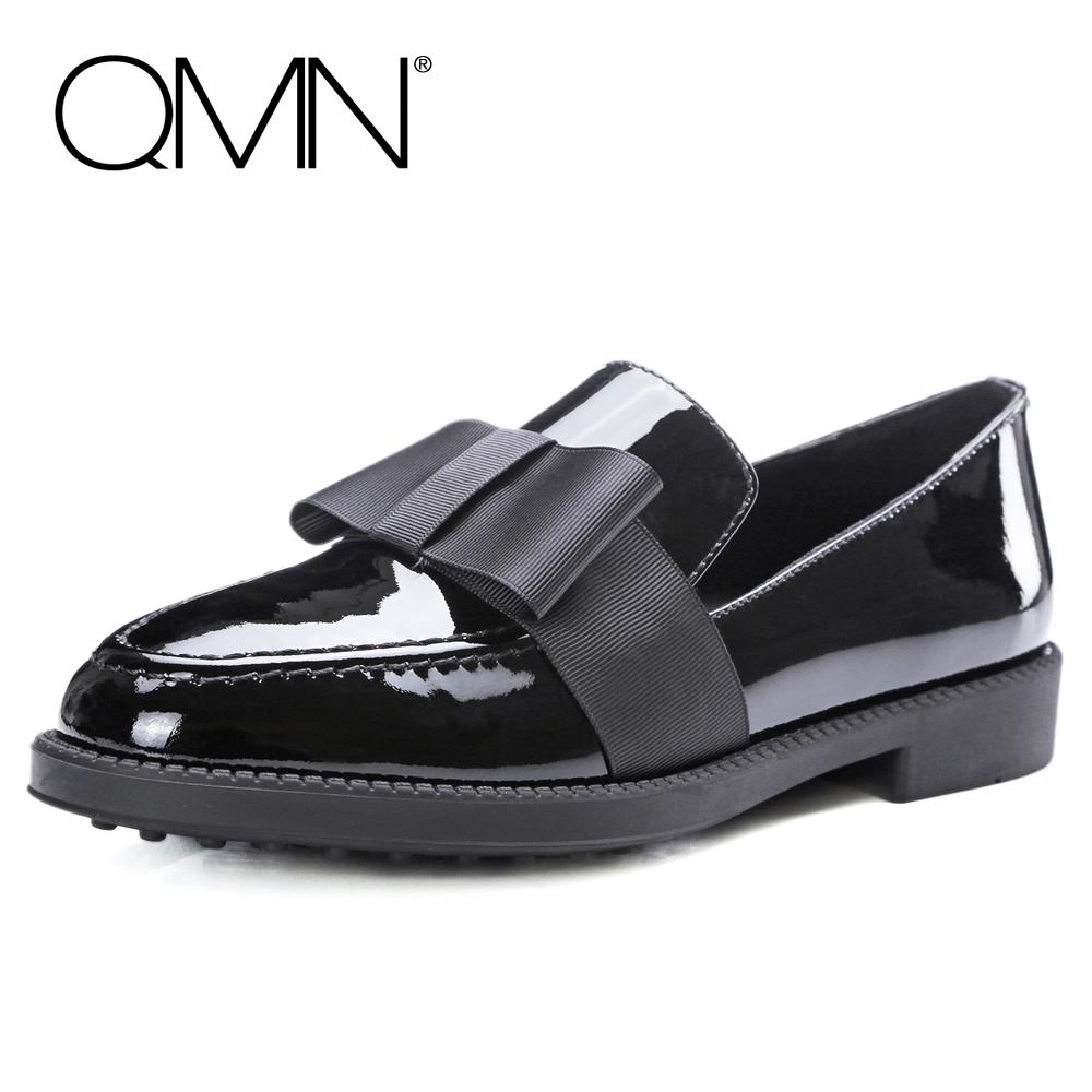 QMN women bow-embellished patent leather loafers Women Round Toe Slip On Casual Shoes Woman Genuine Leather Black Flats qmn women crystal embellished natural suede brogue shoes women square toe platform oxfords shoes woman genuine leather flats