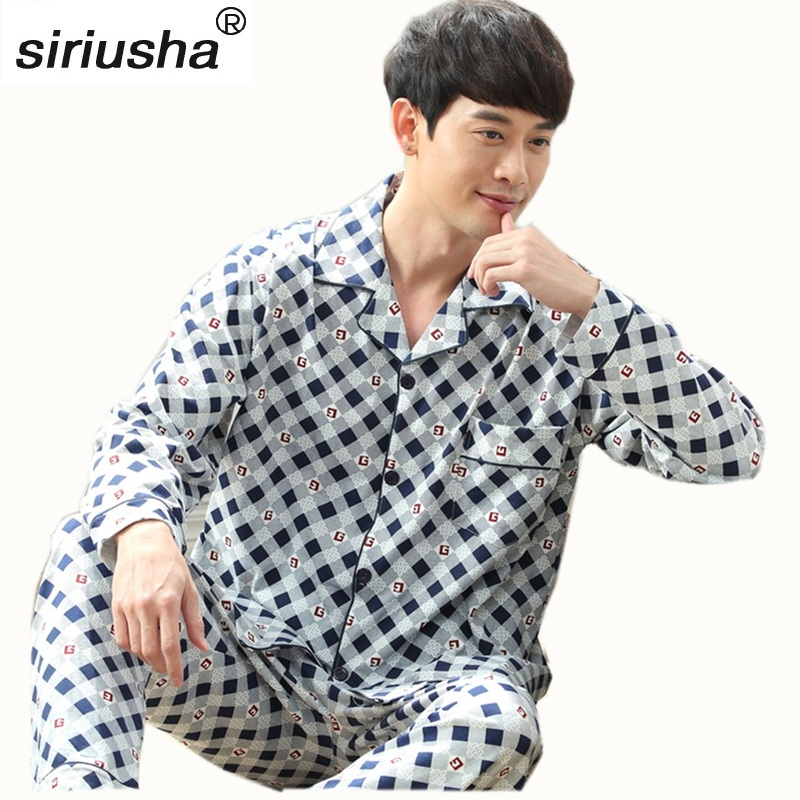Thick Pyjama In The Rooms Long Sleeved Cotton High Quality Men's Pajama Sets Plus Fertilizer To Increase Youth Home Pijamas S07