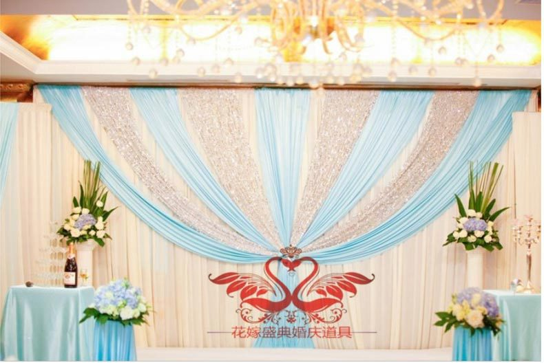 Us 16732 6 Off3m6m Light Blue Shiny Wedding Backdrop Wih Beautiful Swags Bling Weding Stage Curtain In Party Backdrops From Home Garden On