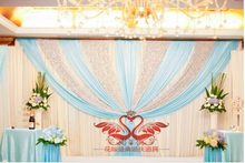 3M*6M Light Blue Shiny Wedding backdrop wih beautiful swags bling Weding stage curtain