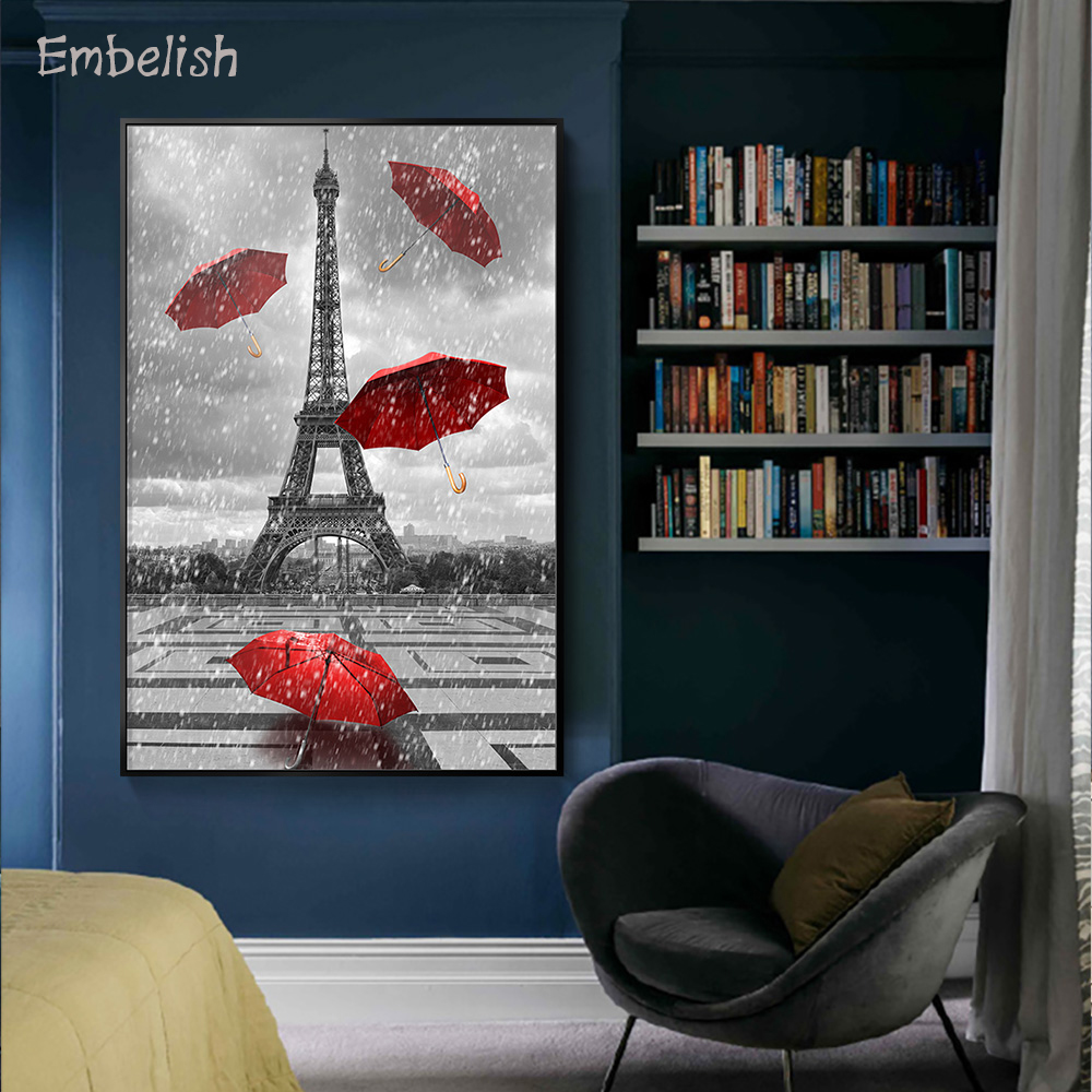 Embelish 1 Pieces Large Size Wall Posters For Living Room Tower With Flying Umbrellas HD Canvas Painting Home  Decor(China)