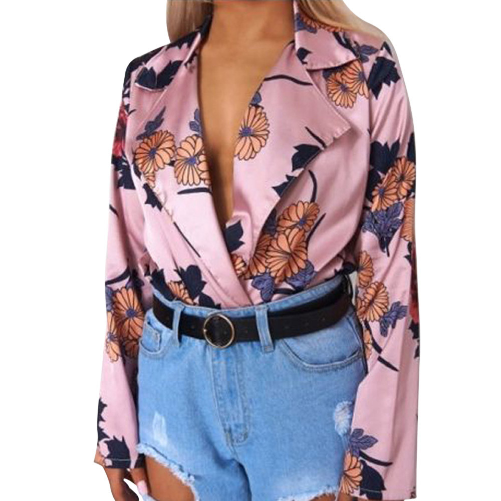 Free Ostrich Women Ladies Floral Print Tuxedo Wrap Over Satin Bodysuit 2019 Women Sexy Bodysuits 2019 Floral Print Body D1235