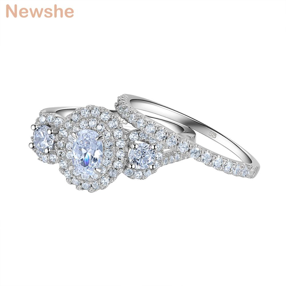 Newshe 2 Pcs Wedding Ring Set 1.5 Ct Oval Shape AAA CZ Classic Jewelry 925 Sterling Silver Engagement Rings For Women JR5717 newshe 925 sterling silver rose gold color dangle drop earrings 6 ct red rhinestone heart shape aaa cz fashion jewelry for women