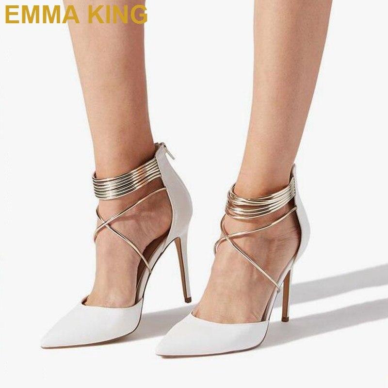 Moda mujer tacones blancos puntiagudos tacones altos de tiras zapatos de verano Sexy señoras zapatos fiesta baile de graduación Stilettos