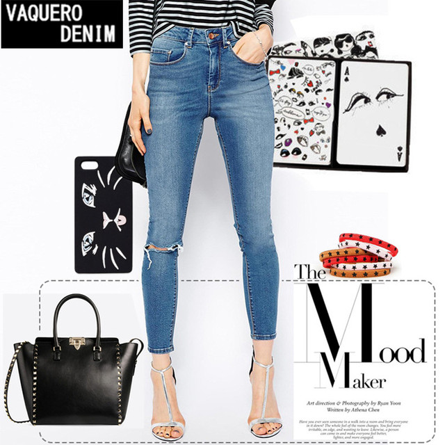 Fashion 2016 New Brand Skinny Hole High Waist Jeans Woman Korean Slim Thin Pencil Pants Capris Blue Plus Size Ripped Jeans SL017
