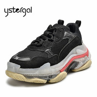 Ystergal Transparent Sole Black Men Sneakers Platform Flat Shoes Man Sapato Masculino Breathable Mens Shoes Casual Trainers